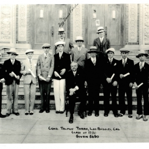 David Famillian on the steps with the 1930 Congregation Talmud Torah Conformation class & Rabbi Neches. Donated by the Smalley Family. Photo by Herman Vasquez